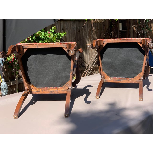 Mahogany 1950s Vintage Mahogany Chippendale Designer Arm Chairs- A Pair For Sale - Image 7 of 11