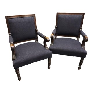Antique Grey Armchairs - Pair For Sale