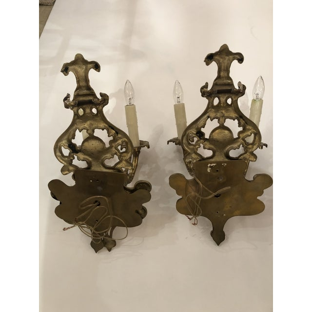 Metal Louis XV Style Cast Bronze 2 Branch Wall Sconces -Pair For Sale - Image 7 of 9