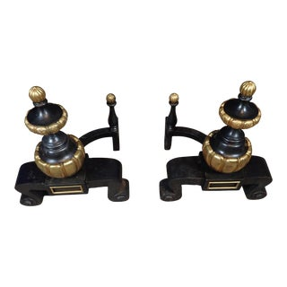 Regency Style Doré Bronze and Iron Chenets - a Pair For Sale