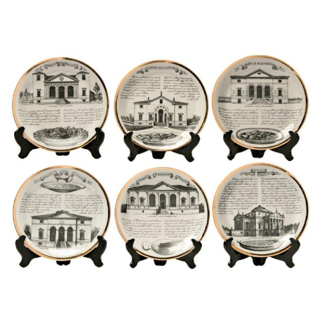 Piero Fornasetti Fornasetti Set of six Vintage Plates For Sale - Image 4 of 7