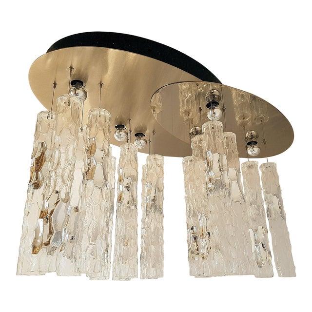 Superior 1970s Av Mazzega Murano Glass Large Flush Mount
