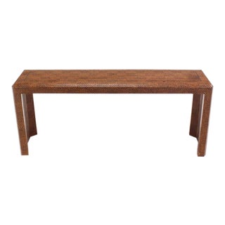 Grass Cloth Covered Console Table with Solid Brass Inlay For Sale