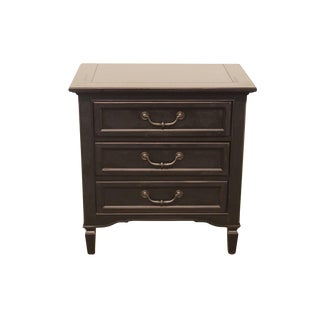 """20th Century Transitional Stanley Furniture Black Painted 28"""" Bedside Chest For Sale"""