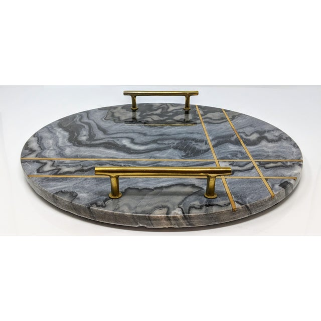 Gray Marble and Brass Circular Tray For Sale - Image 9 of 13