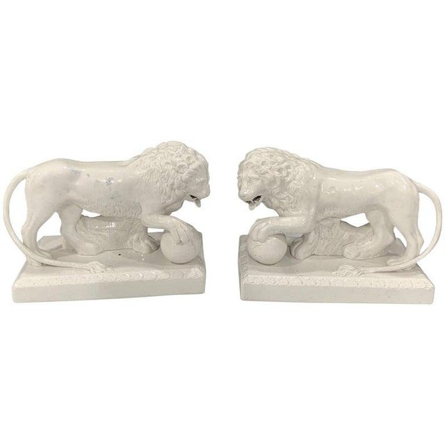 Pair of 19th Century English Creamware/Pearlware Model of the Medici Lions For Sale - Image 11 of 11