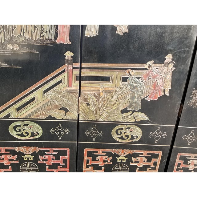 20th Century Asian Chinese Chinoiserie Black Coromandel 12 Panel Screen Oriental Asian For Sale - Image 11 of 12