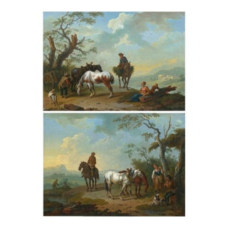18th Century Antique Landscape Paintings Attr. To Pieter Van Bloemen - a Pair For Sale