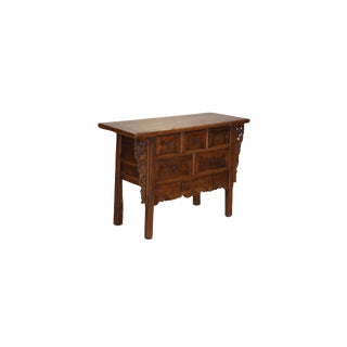19th Century Asian Antique Elmwood Hand Carved Buffet For Sale