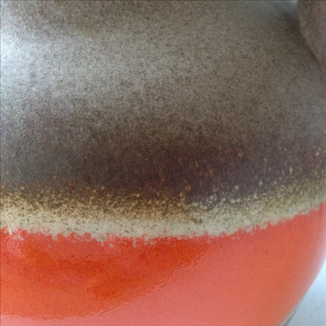 Orange and Brown Fat Lava Floor Vase For Sale - Image 11 of 11