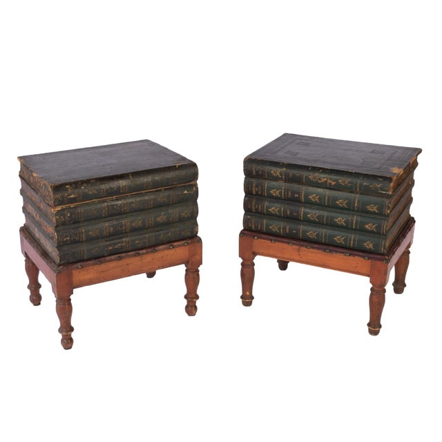 French Faux Book Box End Tables on Turned Fruitwood Legs, Circa 1880 - a Pair For Sale - Image 9 of 9