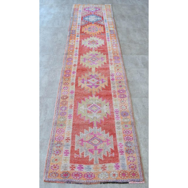 1970s Hand-Made Turkish Runner Rug. Muted Colors Tribal Herki Rug Runner Hallway Decor - 2′9″ × 11′4″ For Sale - Image 5 of 10