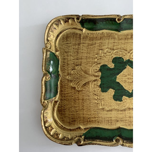 1970s Florentine Green and Gold Tray For Sale - Image 4 of 6
