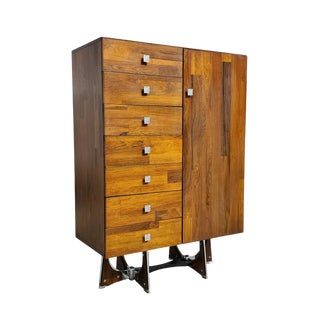 1960s Brutalist Rosewood Armoire For Sale