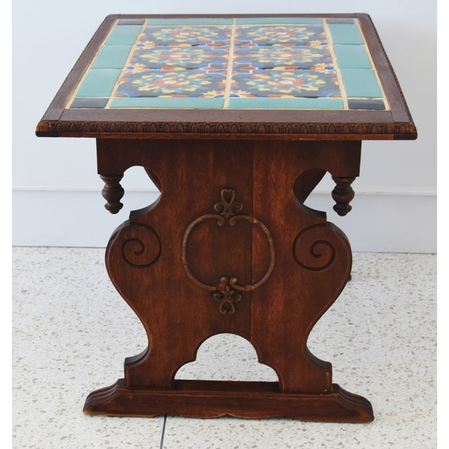 Ceramic 1940s California Mission Tile Oak Accent Coffee Table For Sale - Image 7 of 13