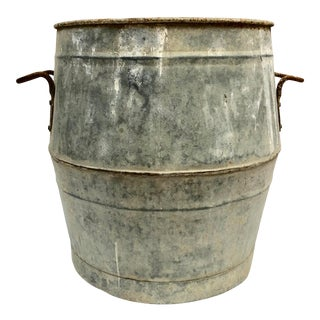 Vintage French Zinc Dolly Tub Planter For Sale