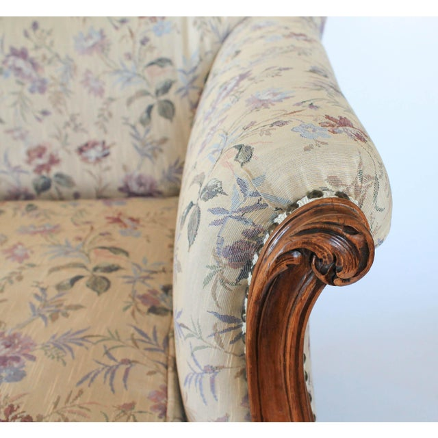 French Antique Sofa W/ Carved Wood & Feather Down Cushion For Sale - Image 3 of 13