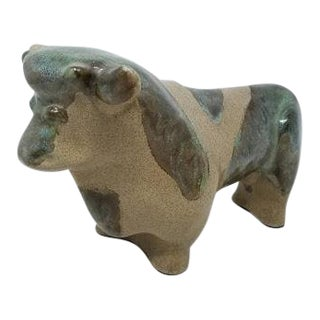 Marianna Von Allesch Bull Sculpture Styled for Carola Ceramics For Sale