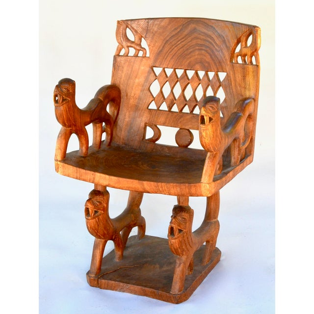 African Benin Tribal Wood Chair For Sale - Image 10 of 10