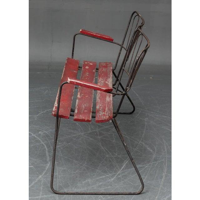 Mid Century Garden Steel Bench Settee For Sale - Image 4 of 5