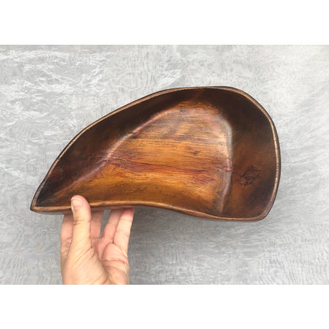 1950s Organic Modern Hand Carved Wooden Bowl For Sale - Image 9 of 11