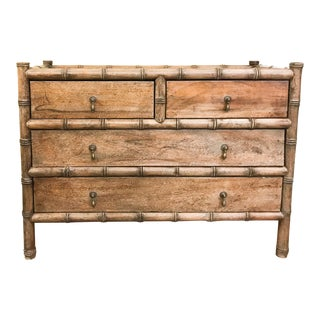 Mid Century Hollywood Regency Faux Bamboo Chest of Drawers