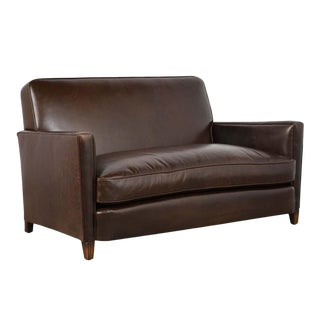 French Art Deco Leather Sofa For Sale