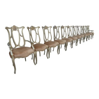 Hand Made Italian Palladio Style Silver Leafed Palazzo Dining Chairs - Set of 12 For Sale