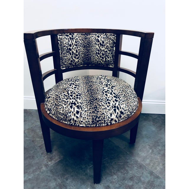 Fabric Hollywood Glam Leopard Print Barrel Back Chairs - a Pair For Sale - Image 7 of 8