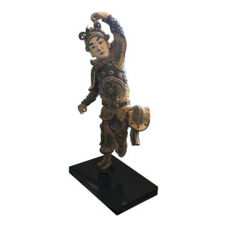 Early 20th Century Chinese Standing Roof Tile Figure on Stand For Sale