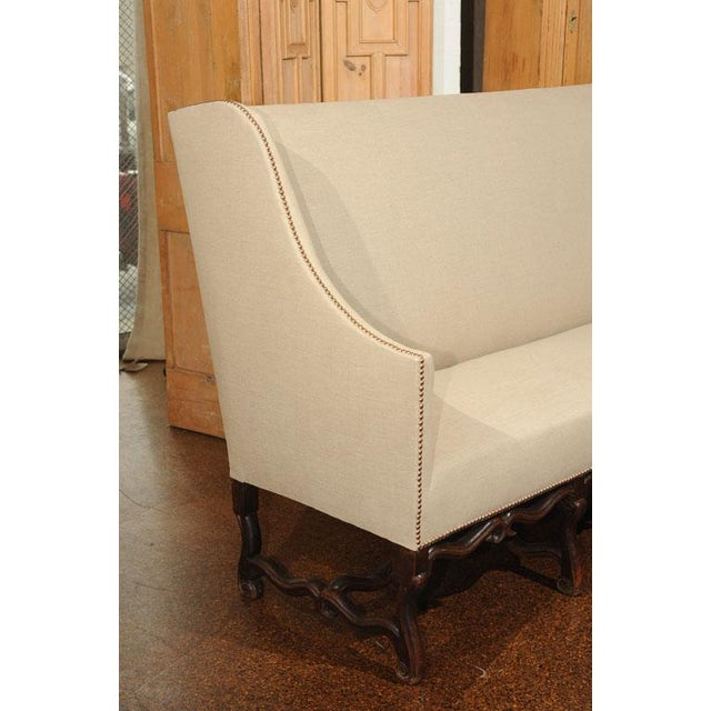 17th Century High Back Sofa with Carved Walnut Base For Sale - Image 5 of 9