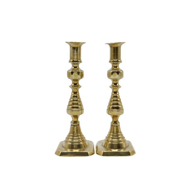 English Gold Brass Candlesticks - a Pair For Sale - Image 3 of 8