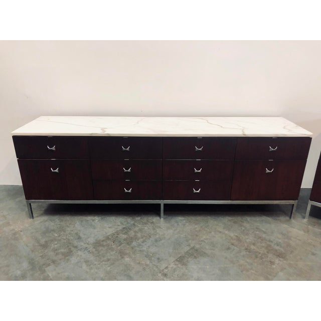 1960s Mid-Century Modern Florence Knoll Rosewood and Marble Credenza Ensemble - 2 Pieces For Sale - Image 11 of 13