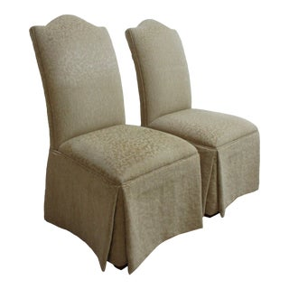 1990s Ethan Allen French Regency Parson Custom Fabric Dining Room Chairs- A Pair For Sale