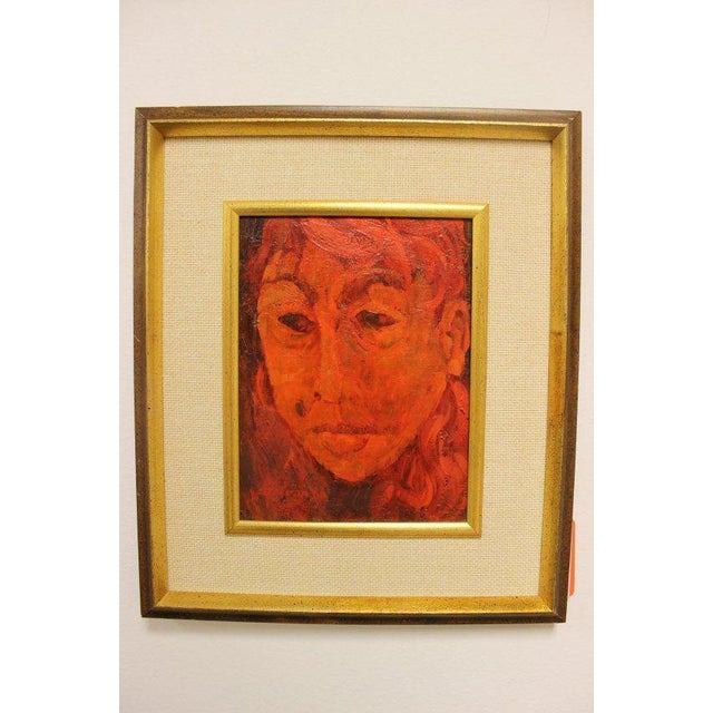 Oil Paint Mid-Century Modern Gene Szafran Oil on Board Head Study Orange For Sale - Image 7 of 7