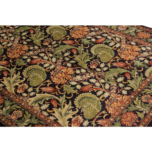 Art Nouveau Pak-Persian Caridad Blue/Red Wool Rug - 4'7 X 7'1 For Sale In New York - Image 6 of 8