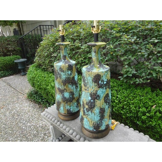 Larger Italian Bitossi Attributed Glazed Ceramic Lamps-A Pair For Sale - Image 10 of 13