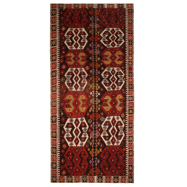 Vintage Mid-Century Malatya Red and Off-White Wool Kilim Rug- 5′10″ × 13′ For Sale In New York - Image 6 of 6