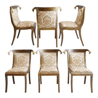Set Six Enrique Garcel Gold Leaf Brass Rams Head Hollywood Regency Dining Accent Chairs For Sale