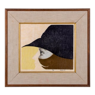 """1969 Dada Style Abstract """"Woman in Profile"""" Print"""