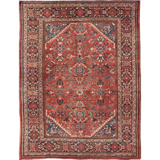 Antique Mahal Rug With All Over Design in Soft Red and Brown Border For Sale