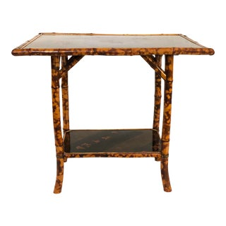 Vintage Chinoiserie Scorched Bamboo Side Table For Sale