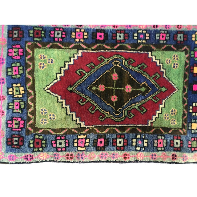 Traditional Anatolian Aztec Antique Blue Green Pink and Red Turkish Oushak Rug For Sale - Image 10 of 12