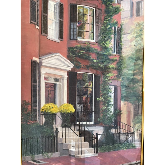 2000s Louisburg Square Boston House Portrait Oil Painting by Heather Risley, Framed For Sale - Image 4 of 10