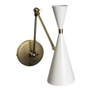 'Monolith' Italian-Style Reading Lamp Brass & White Enamel by Blueprint Lighting