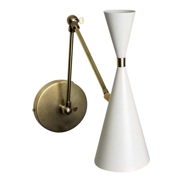 'Monolith' Italian-Style Reading Lamp Brass & White Enamel by Blueprint Lighting For Sale