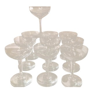 Set of 10 Signed Baccarat Art Deco French Crystal Champagne Coupe Wine Stems For Sale
