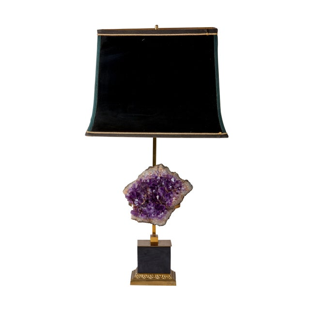 Maison Jansen Amethyst Lamps With Shades - a Pair For Sale - Image 4 of 5