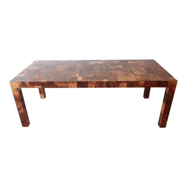 Paul Evans for Directional Patchwork Burl Wood Parsons Extension Dining Table For Sale