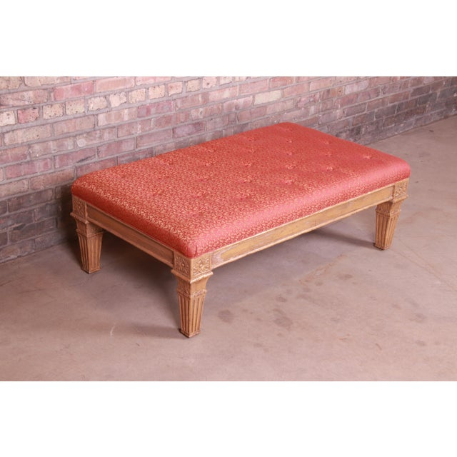 Mid 20th Century Baker Furniture French Louis XVI Gilt Upholstered Bench, Circa 1960s For Sale - Image 5 of 13